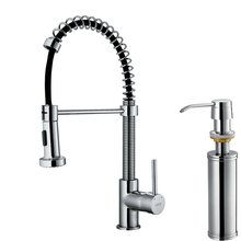 """View the Vigo VG02001K2 Kitchen Faucet Single Handle with Pull-Out Spray and Soap Dispenser 18.5"""" Height at FaucetDirect.com."""
