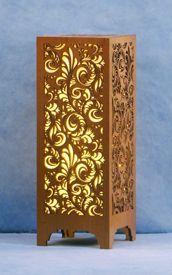 Decorative Wood Table Lamp: Swirly Foliage