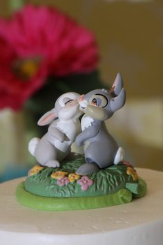 Thumper and Miss Bunny Disney cake topper :) #wedding #weddingcake (was a hallmark ornament, i just cut the wire off)