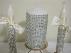Wedding Unity Candle Set  Silver Bling by frenchcountry1908, $39.00