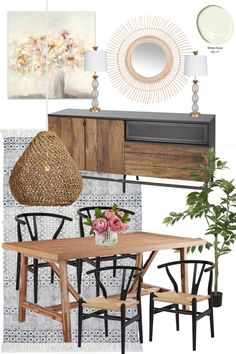 Mood Board Monday: Dining Rooms Designs Under $1700 - Bless'er House Three dining room mood boards with three different styles of boho farmhouse, modern, and french vintage for a small-ish budget. #diningroom #moodboard
