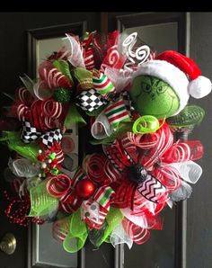 Who doesn't love the Grinch? It's a Christmas classic! This year I am doing a Grinch themed WhoVille Grinch-mas party and have b. Grinch Christmas Decorations, Christmas Wreaths To Make, Holiday Wreaths, Christmas Projects, Christmas Themes, Christmas Holidays, Christmas Crafts, Christmas Christmas, Le Grinch