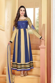 Adorable Karishma Kapoor Blue Beige Gorgette Anarkali Suit at 70% off Sale