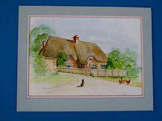 Vintage Art OOAK Painting Vintage Watercolor by BiminiCricket, $55.00