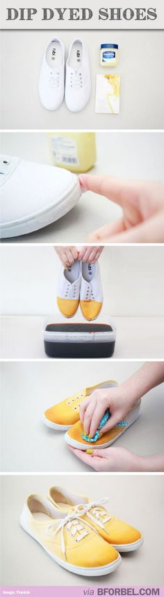 How to DIY dip dyed sneakers! So clever and pretty. #ideas my daughter loves to buy these cheap shoes from Wal-Mart and design them