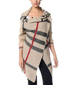 Take a look at this Beige Plaid Sweater by Polkadot on #zulily today!