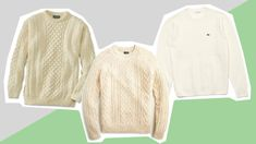 The fisherman's sweater from 'Knives Out' that every guy needs – Knitted Sweater Bloğ Rian Johnson, Ensemble Cast, Woolen Mills, Chris Evans, Sweater Shop, Cable Knit Sweaters, Lacoste, Knives, Irish Store
