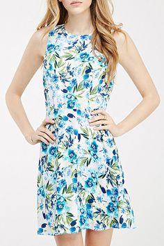 Backless Blue Floral Print Dress