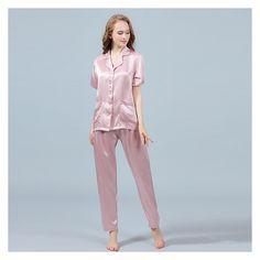 19 Momme Silk Pajamas Set Short Sleeve Shirt & Long Pants - ChicHouz