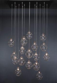 Shakuff CLOUD Blown Glass Multi Pendant Chandelier. Shown In Clear Pendants.  Custom Made Chandelier
