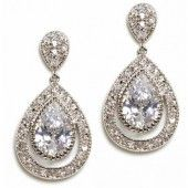 """Anna Bellagio, Regan Elegant Pear Shaped Bridal Drop Earrings ($48.00)  Product Description Classic elegance is a great way to describe this drop earring. Double Pear shaped cubic zirconia are placed in opposite directions. The bottom larger stone is  outlined in tiny round stones giving movement to this classic but totally modern look.  * Length 1.5""""  * Width .50"""""""