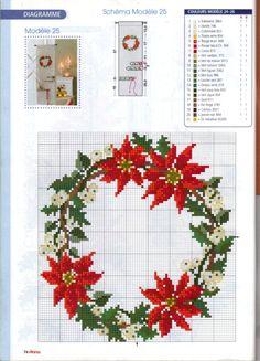 Pin by Sharon Rorex on needlework Xmas Cross Stitch, Cross Stitch Christmas Ornaments, Cross Stitch Borders, Cross Stitch Flowers, Christmas Cross, Cross Stitch Charts, Counted Cross Stitch Patterns, Cross Stitch Designs, Cross Stitching
