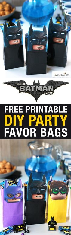 The LEGO Batman Movie Party Treat Bags! Free Printable LEGO Minifigures for DIY Birthday Party Favor Bags. Cute gift idea for kids! Movie in theaters Feb. 10! #LEGOBatmanMovie #sponsored