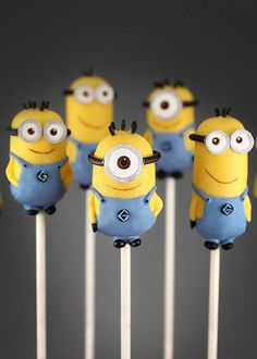 Minion Cake Pops by Bakerella, via Flickr. FOUND THEM! Bakerella has Minions and other cake pop characters from Despicable Me!