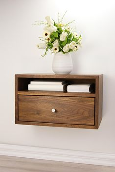 Floating Nightstand with Drawer and Open Shelf / Walnut Wood