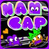 Nam-Cap    press 5 to insert coins.  Press 1 to start.  Use arrow keys to move about the maze. The goal of the game is to fill the screen with purple dots, which you can do as long as your heart is full.  To fill your heart, you must kiss the kings, who try to run away from you.  When you kiss a king, you leave behind a heart.  If one of the kings touches this heart, they become angry and chase you.  Twice a round, a special enemy appears and chases after you for a short whi