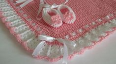 Crochet Baby Blanket / Afghan and Booties Pink White
