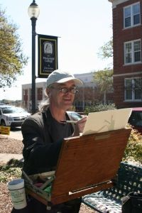 Wyatt Waters painting on the MC campus.