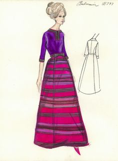 Vintage - Esquisses et Croquis - Mode - Balmain - années 1950/1960