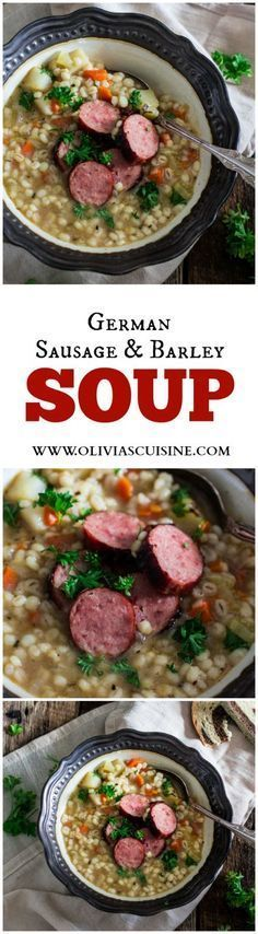 German Sausage and Barley Soup (Graupensuppe) | http://www.oliviascuisine.com | An easy and delicious soup recipe for the cold weather. Comfort food at its best! #OktoberOnTheFarm #ad