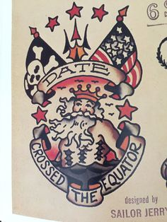 king neptune crossed equator sailor jerry flash - Yahoo Image Search Results Traditional Compass Tattoo, Traditional Tattoo Filler, Traditional Sleeve, Traditional Tattoos, Traditional Flash, Shellback Tattoo, Golden Dragon Tattoo, Anchor Compass Tattoo, Anchor Tattoos