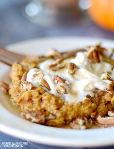 Baked Pumpkin Pie Oatmeal! Perfect Fall Weather food... tastes like pumpkin pie! Low fat. high protien THM E