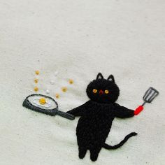 Think Cats are Funny? These Delicate Embroideries Imagine a Whole New Silly Side - Funny Cat Embroideries Highlight the Humor of Felines - Cat Quotes - Funny Cat Quotes Embroidery On Clothes, Hand Embroidery Patterns, Diy Embroidery, Cross Stitch Embroidery, Cross Stitching, Fiber Art, Sewing Crafts, Needlework, Funny Poses