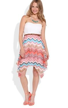 Deb Shops Strapless High Low Dress with Lace Bodice and Chevron Skirt $35.00