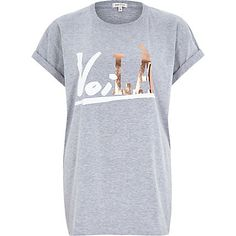 Grey voila foil print fitted t-shirt £18.00