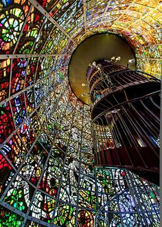 Stained Glass Symphonic Tower Sculpture by Gabriel Loire (1975) at the Hakone Open-air Museum, Japan