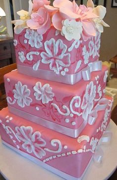 Extravagant Wedding Cakes hand painted royal icing on pink fondant pink flowers!  http://www.facebook.com/PatisserieJessica