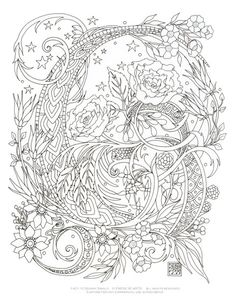 printable coloring page starry swirls by emerlyearts on etsy - Coloring Or Colouring