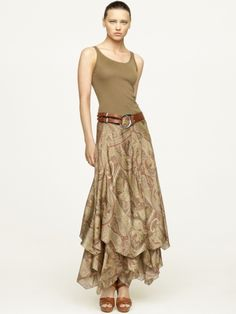 Ralph Lauren Patsy Taupe Silk Skirt- I love this whole outfit.just needs a floppy hat :) Ralph Lauren Style, Ralph Lauren Black Label, Boho Fashion, Fashion Outfits, Pixie, Silk Skirt, Boutique, Skirt Outfits, Paisley