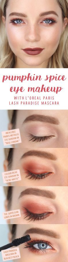 Pumpkin spice fall eye makeup look featuring L'Oreal Lash Paradise mascara. First apply Infallible Paints Metallic eye shadow in Rose Chrome all over lid, then apply Colour Riche Matte eye shadow in Acro-Matte and blend outward. Create a wing with The Super Slim liner in Brown. Finish with 2 coats of Lash Paradise on top and bottom lashes!