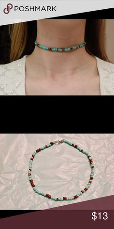 Beaded Choker Very cute and unique beaded turquoise and bronze choker. Stretchy material so ideal for most neck sizes. I have more available so bundle and save! Each will have their own unique pattern. Great gift for the Holidays! Gypsea H Creations Jewelry Necklaces