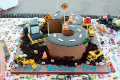 (Construction party theme)- Love personalization on tractor (: 3rd Birthday Cakes, 3rd Birthday Parties, Birthday Fun, Digger Birthday Cake, Birthday Banners, Third Birthday, 1st Birthdays, Birthday Invitations, Birthday Ideas
