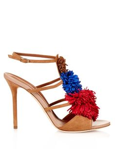 MALONE SOULIERS Sherry Fringed-Pompom Suede Sandals. #malonesouliers #shoes…