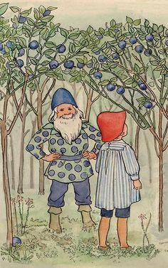 From Elsa Beskow's  'The Blueberry Forest' John Bauer, Elsa Beskow, Painting Lessons, Elfen, Children's Book Illustration, Vintage Paintings, Vintage Prints, Gnomes, Illustrator