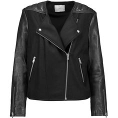 IRO - Glass Leather-trimmed Wool-blend Biker Jacket (1.280 BRL) ❤ liked on Polyvore featuring outerwear, jackets, black, draped moto jacket, quilted jacket, drape jacket, quilted moto jacket and cropped motorcycle jacket