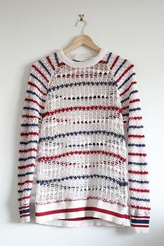Isabel Marant Etoile 'Striped Crochet Long Sleeve Sweater' Knit Blue Red Cream | eBay
