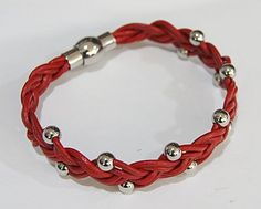 Beautiful Leather Bracelet, with Stainless Steel Magnetic Clasp