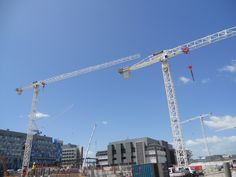 All type of cranes feature here includinh several tower cranes