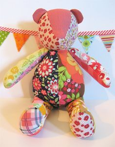 Soft Floral Patchwork Teddy Bear Plush Stuffie by whimsyvintage, $34.00