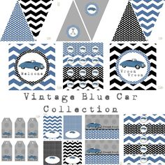 Vintage Blue Car Full Printable Party Decor for Birthday or Baby Shower DIY…