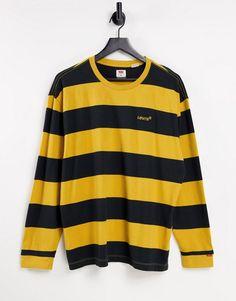 Levi's red tab logo preseason block stripe long sleeve top in cool yellow Long Sleeve Tops, Nike Jacket, Asos, Teen Boy Fashion, Crew Neck, Yellow, Red, T Shirt, Cotton