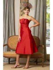 Shantung Strapless Crumb-Catcher Bodice Knee-Length Bridesmaid Dress