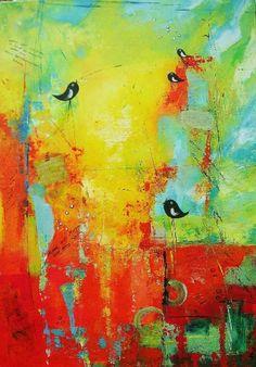 ingemalt (©2012 ingeborgzinn.com) abstraktes Landschaftsbild, datiert und signiert, Unikat