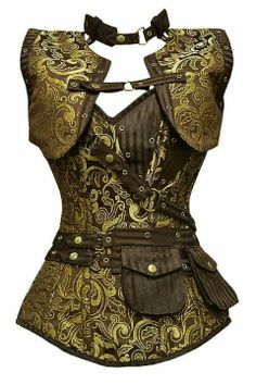 Long Brown & Gold Steampunk Corset.  Love this