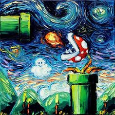 World of Mario by van Gogh! Creative artwork by sagittarius​gallery . Checkout @art_hyperrealistic & @tebo.1