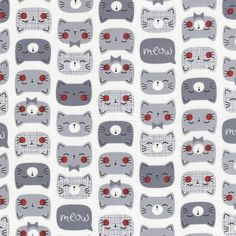 Novelty Fabric Cat Fabric Cotton Fabric by the by BirdOnABough Cat Fabric, Grey Fabric, Cotton Fabric, Timeless Treasures Fabric, Cat Dresses, Novelty Fabric, Grey Cats, Japanese Fabric, Cat Face